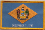 Delaware Embroidered Flag Patch, style 08.